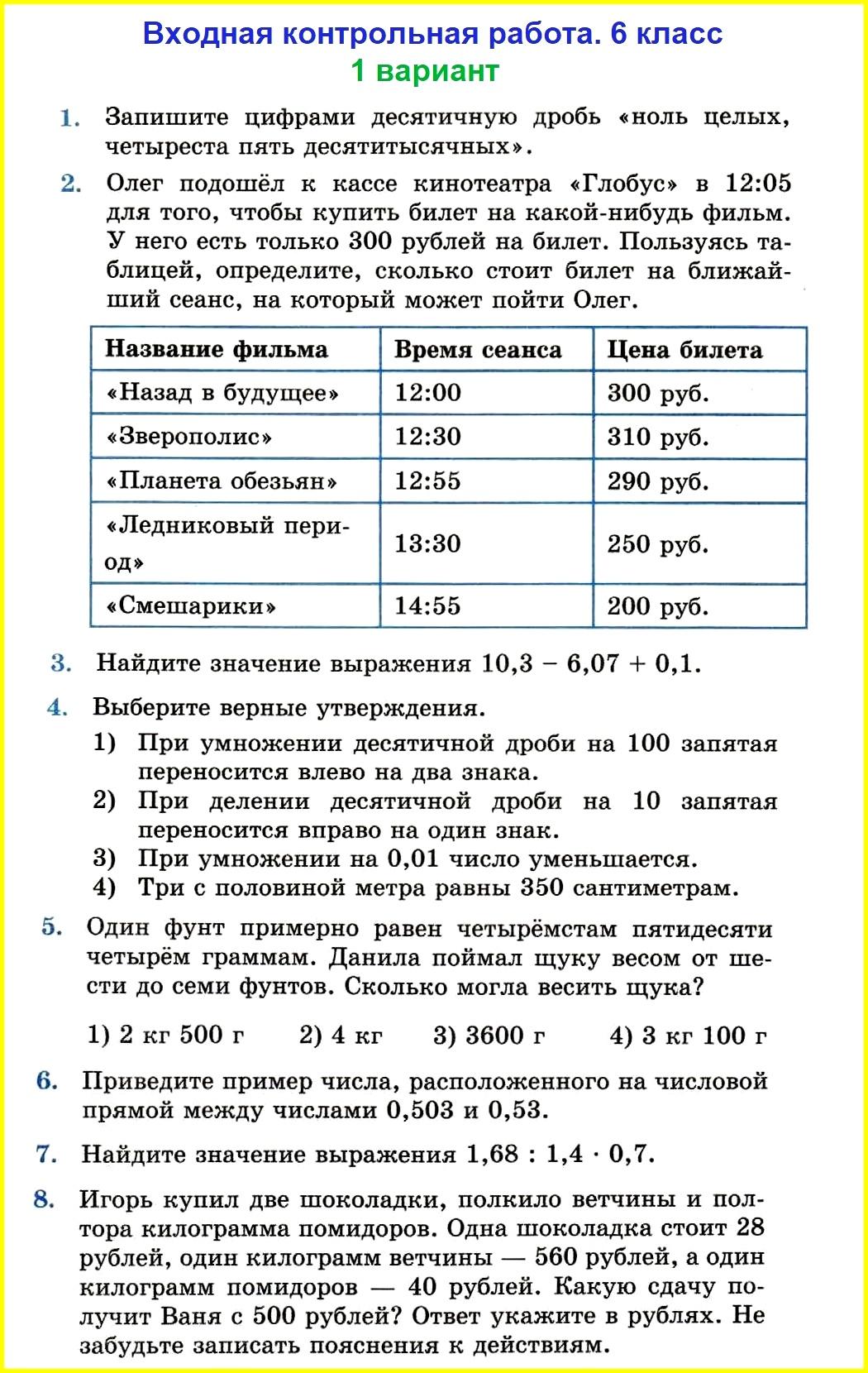 Математика 6: входная контрольная (Мерзляк)