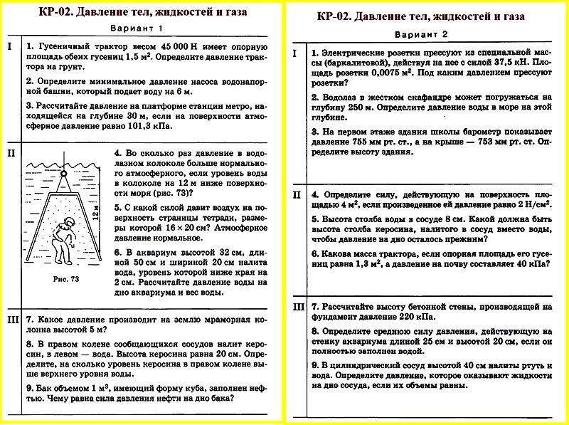 Физика 7 Перышкин Контрольная работа 2