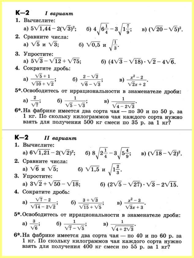 Алгебра 8 Контрольные Никольский (ДМ Потапов)