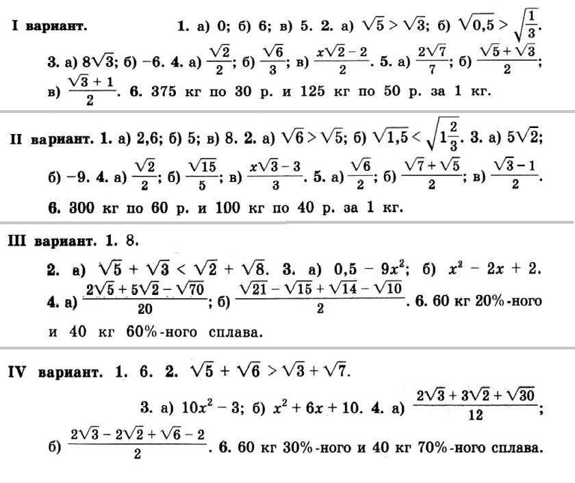 Никольский. Контрольные работы по алгебре в 8 классе. Автор - Потапов. КР-02