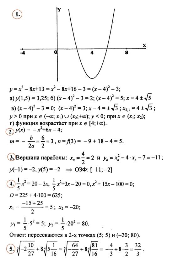 Алгебра 9 Макарычев Ответы на Контрольную № 2 в2