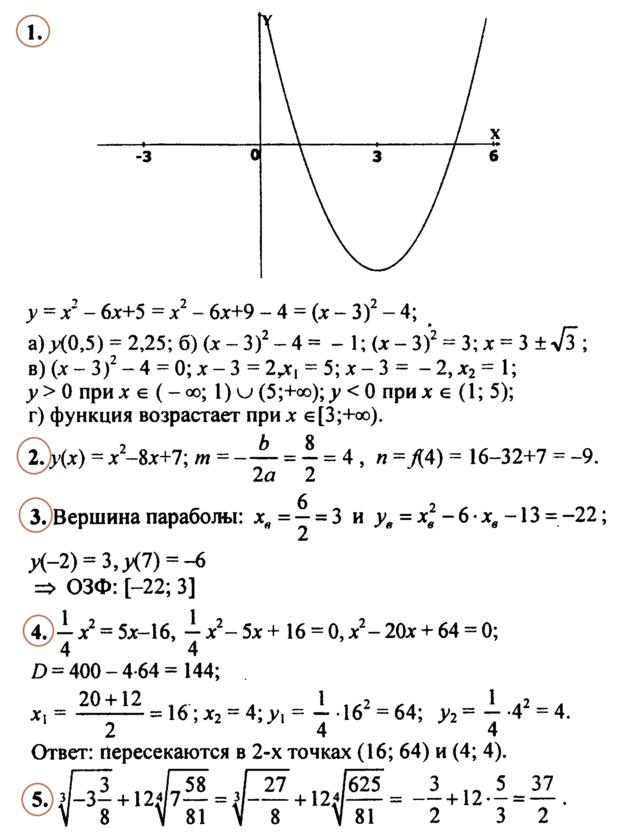 Алгебра 9 Макарычев Ответы на Контрольную № 2
