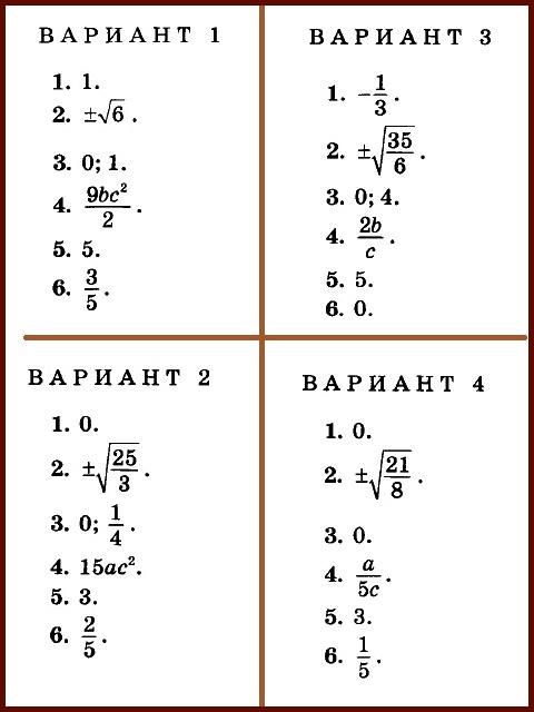 Алгебра 8 Мордкович. ДМ Попов. Ответы на КР-02