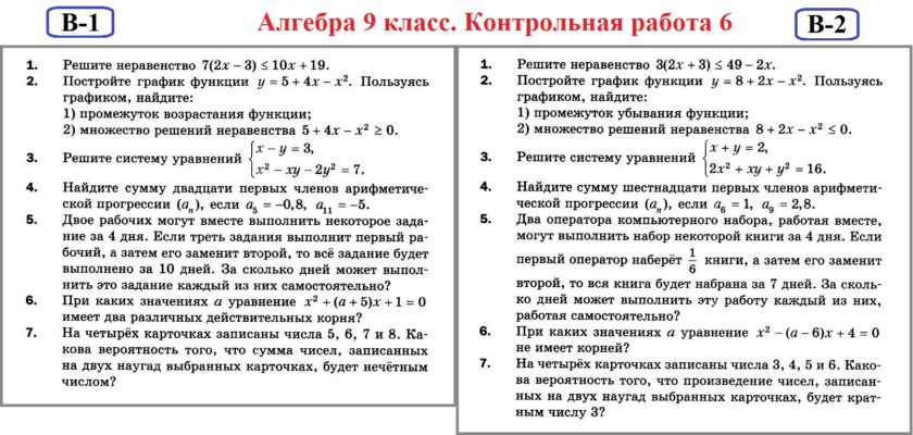 Алгебра 9 Контрольные Мерзляк. КР-6