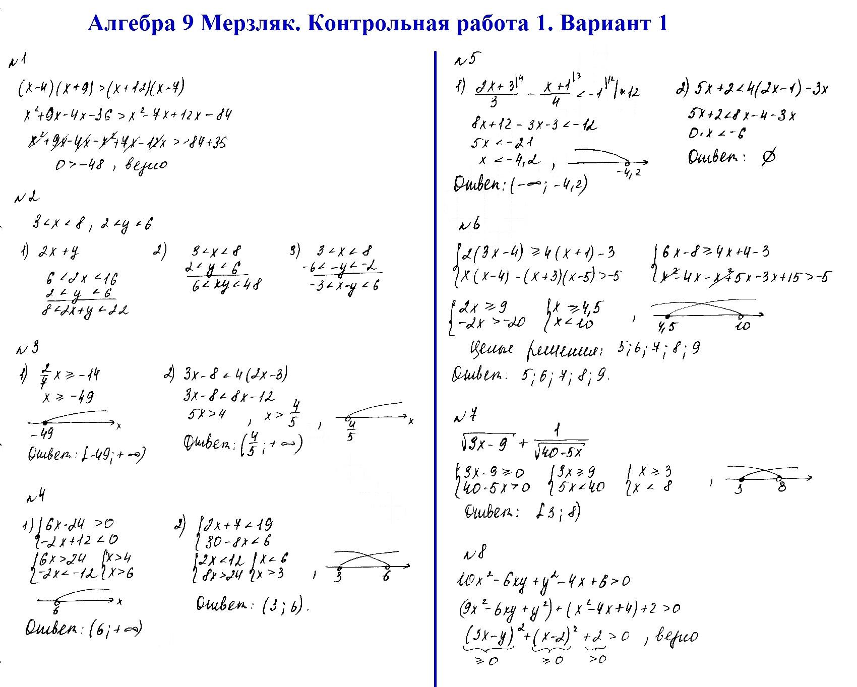 Алгебра 9 Мерзляк. Ответы на контрольную 1 в1