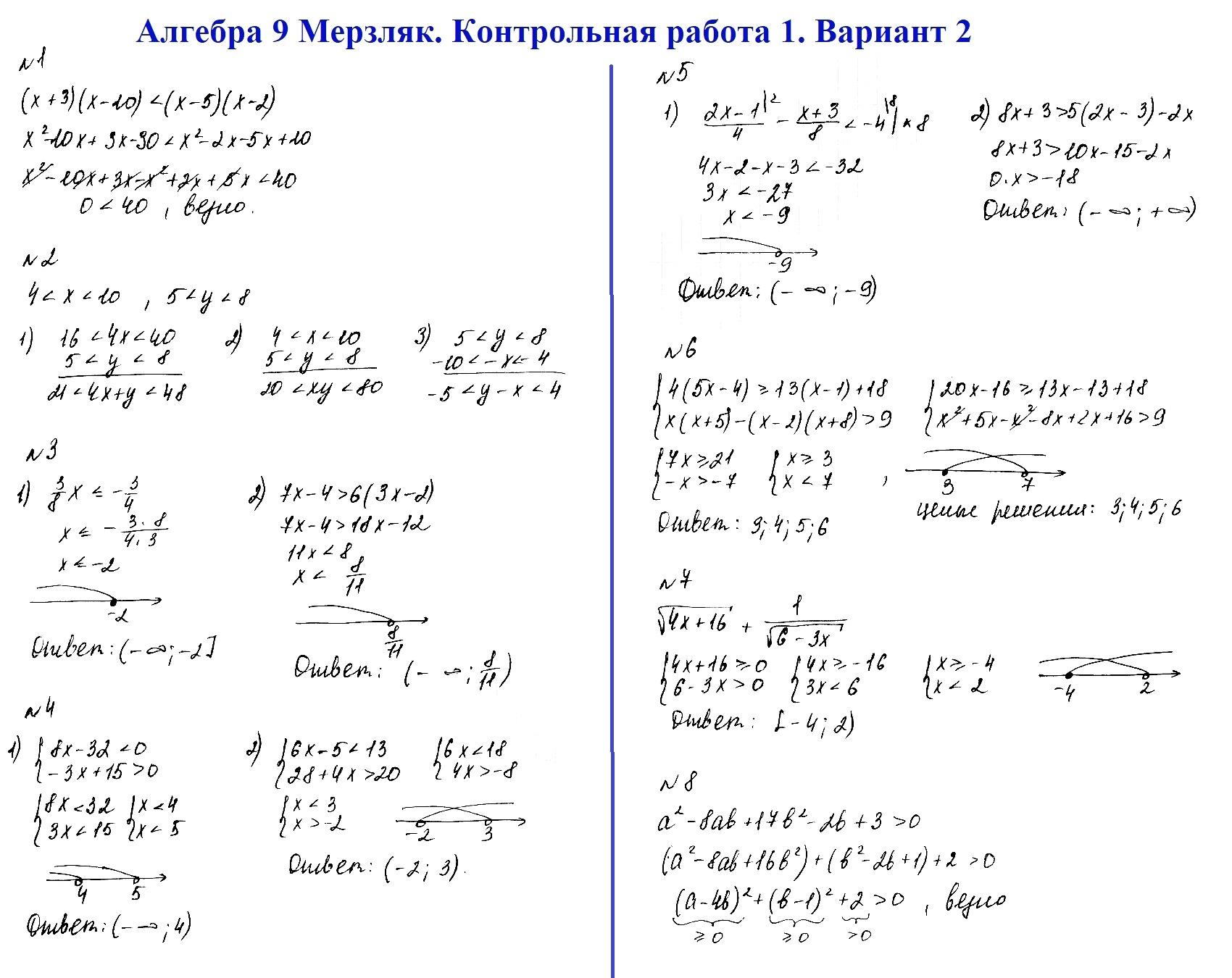 Алгебра 9 Мерзляк. Ответы на контрольную 1 в2
