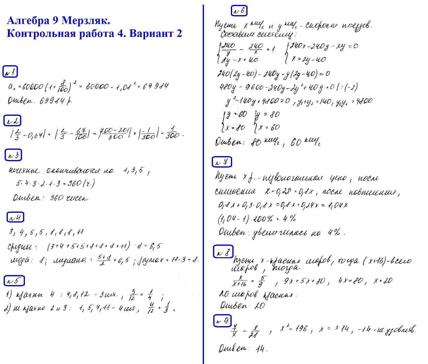Алгебра 9 Мерзляк. Ответы на контрольную 4 в2