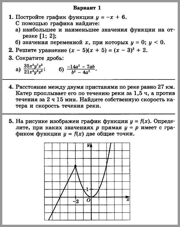 Алгебра 7 Мордкович Контрольная № 8